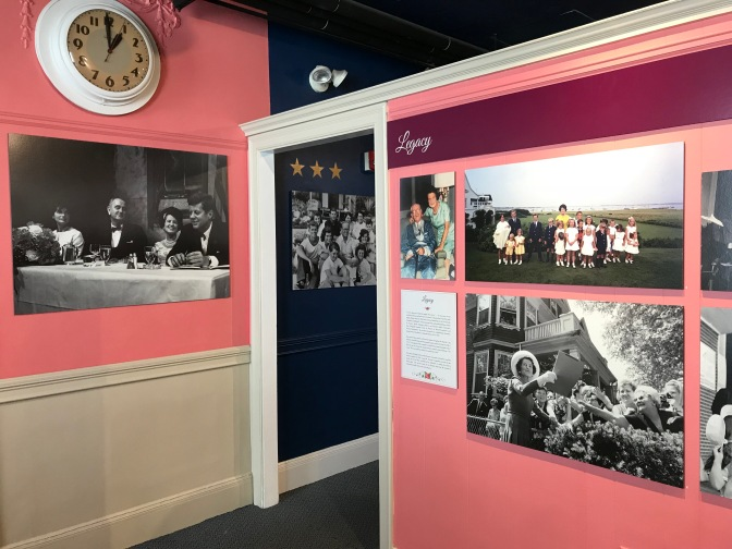 Wall of images of the Kennedys in Hyannis.