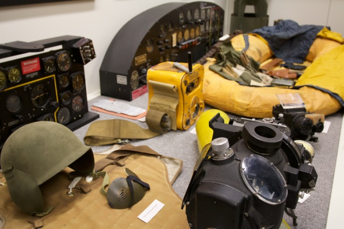 Cockpit equipment from U.S. bombers and fighters.