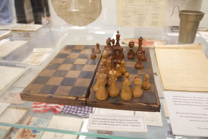 Wooden chess set and board.