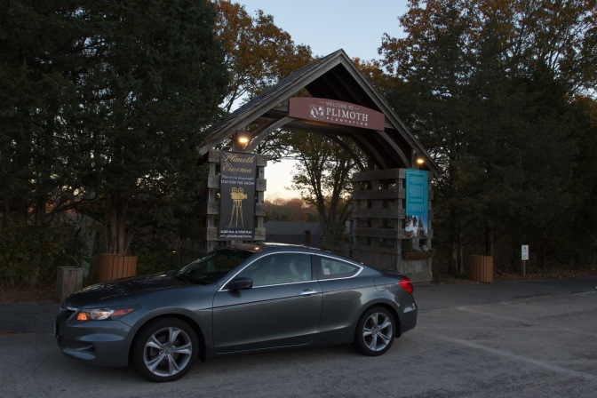 2012 Honda Accord in front of Plimoth Plantation entrance.