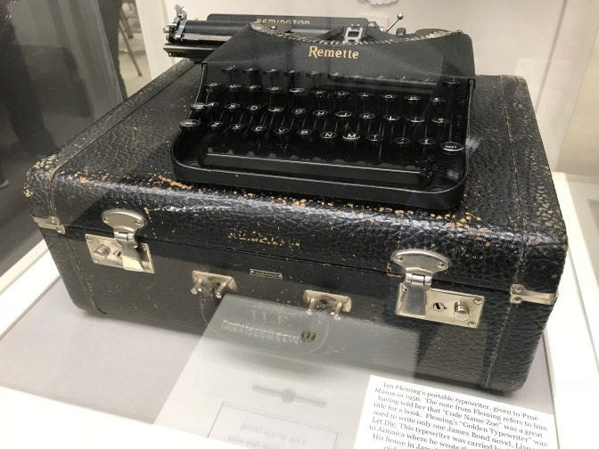 Ian Fleming's portable typewriter and its traveling case.