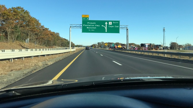 Highway exit sign for Plimoth Plantation on Route 3 South.