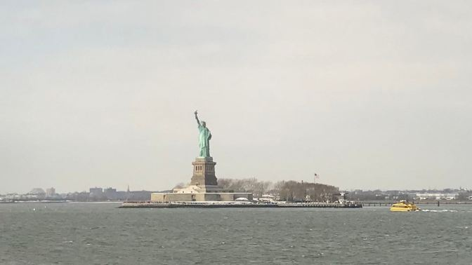 View of Statue of Liberty.