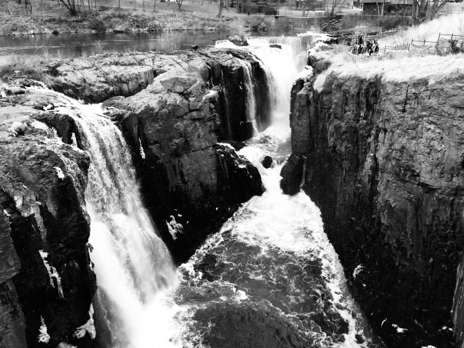 View of Great Falls, in black and white.