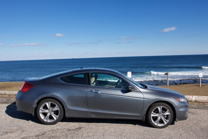 2012 Honda Accord coupe in front of Narrangasett Bay.