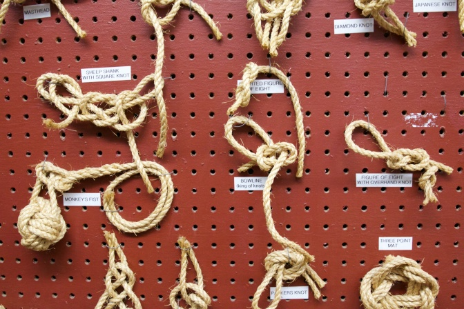Wall display of various knots.