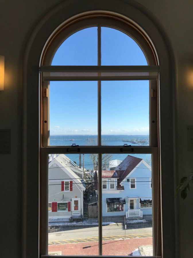 View of Provincetown harbor through the 3rd story window.