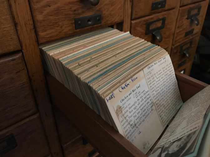 Recipes in card catalog drawer.