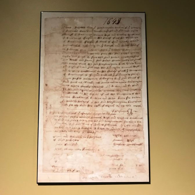 Massachusetts town charter from 1649.
