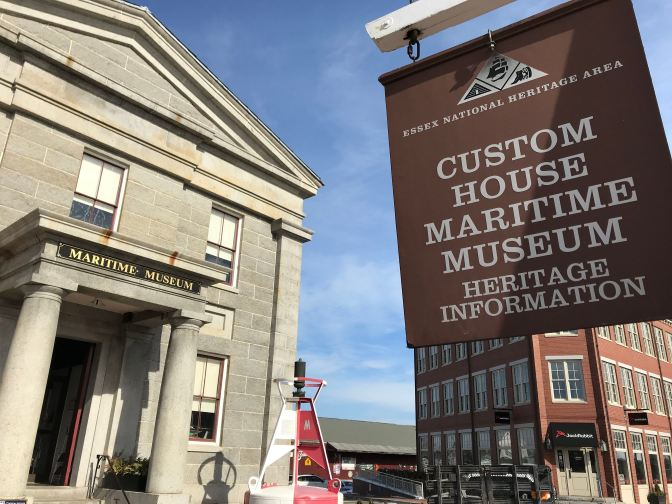 Custom House Maritime Museum exterior, and sign.