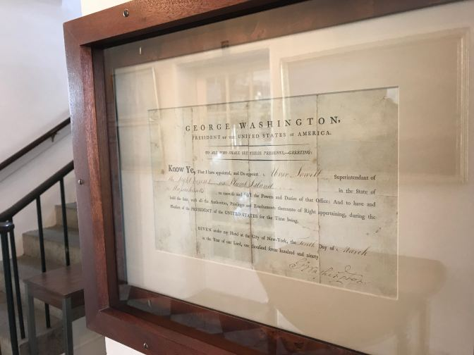 Letter of employment for a lighthouse keeper from President George Washington.