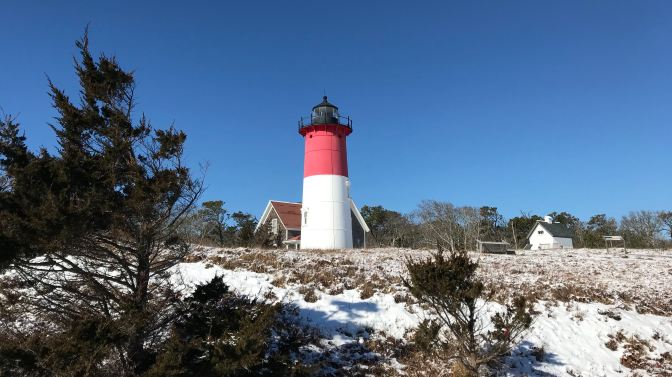 Nauset Lighthouse, on top of a dune.