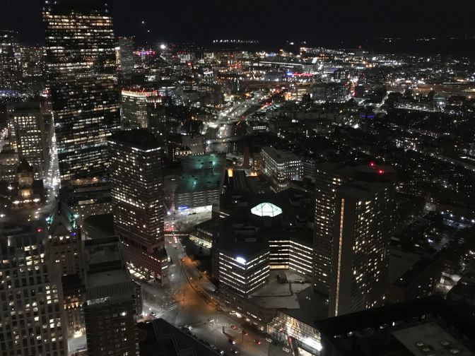 Nighttime view of Boston from the Skywalk Observatory.