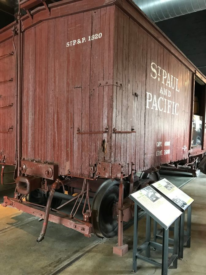 "Boxcar in the Museum. The car says ""St. Paul and Pacific."""