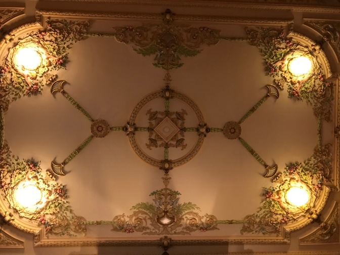 Ceiling in the Grand Hall, with four lanterns, one at each corner of the ceiling.