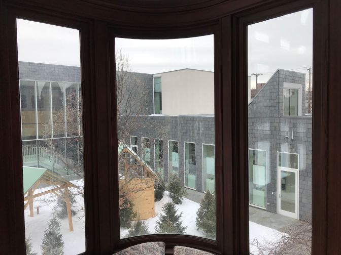 View of the modern museum through the Solarium windows.