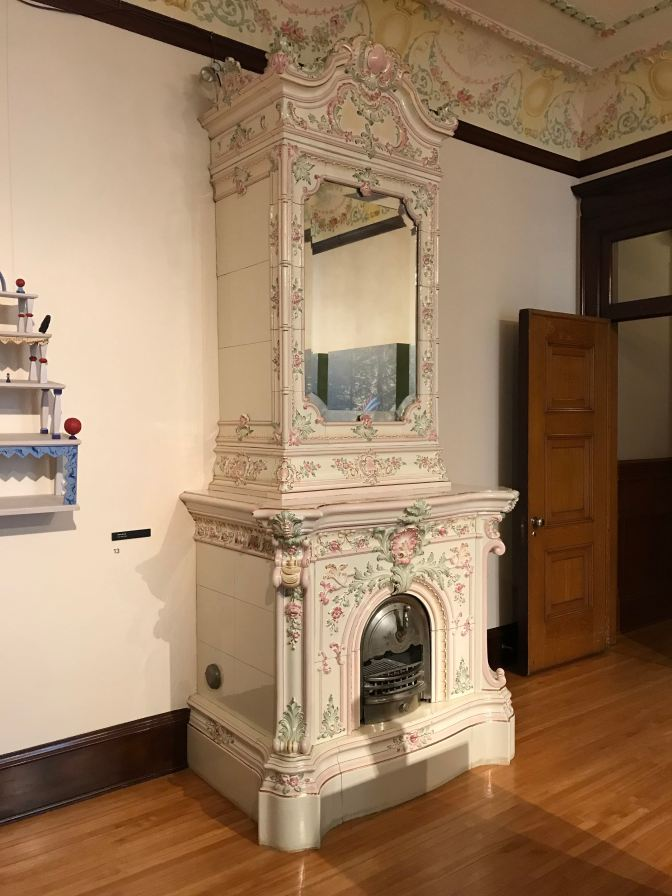 Large porcelain fireplace.