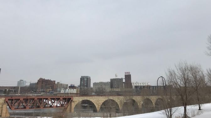 Stone Arch Bridge and Pillsbury Factory.