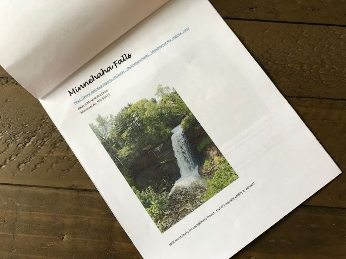 Small pamphlet with guide to Minnehaha Falls.