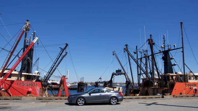 2012 Honda Accord, parked on pier beside fishing boats.