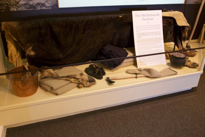 Display of the Old Dartmouth Purchase, which has the items that were sold to the Native Americans in exchange for land.