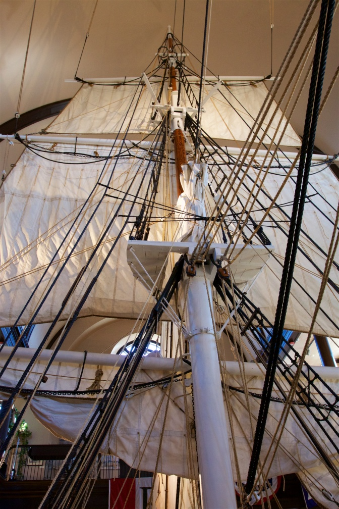 Sails and rigging of the ship.