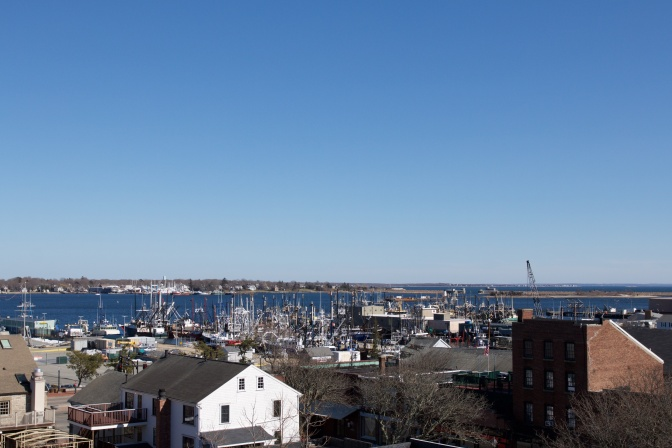 View of New Bedford harbor from observation deck.