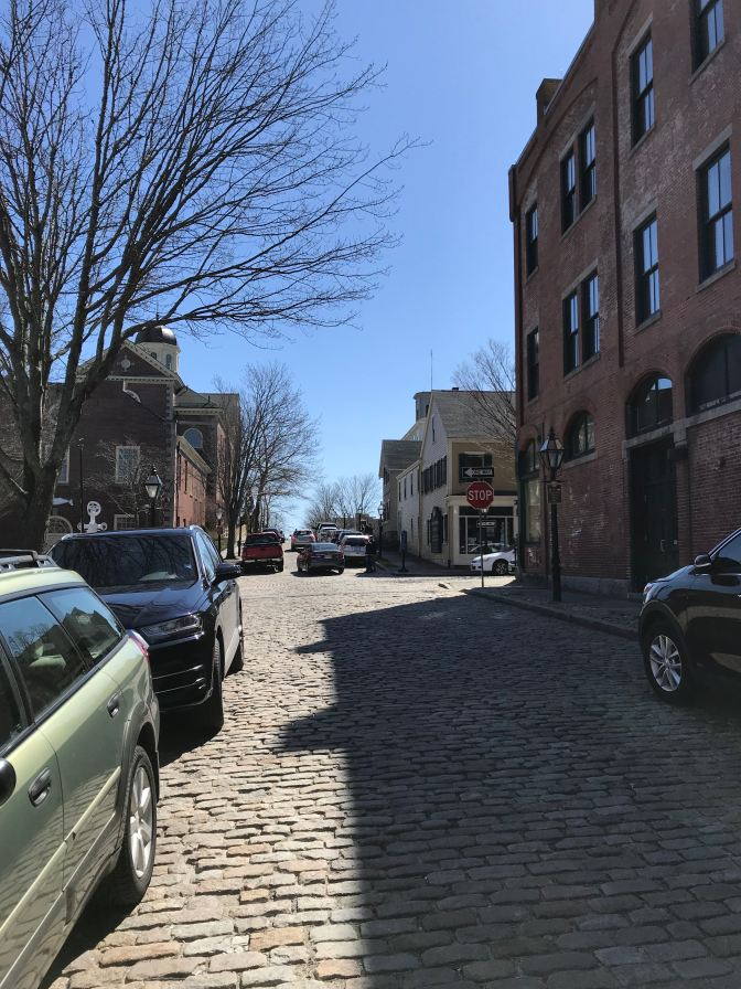 Cobblestone streets in New Bedford.
