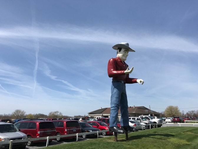 Cowboy statue outside of Cowtown Rodeo.