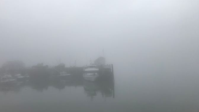 Fog-filled harbor in Plymouth, with a pier and boats moored.