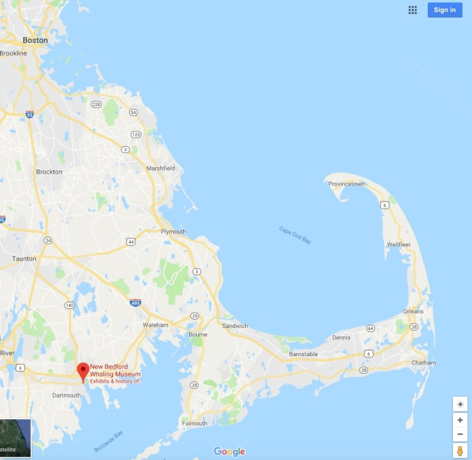 Map of eastern Massachusetts, with a pin in New Bedford.