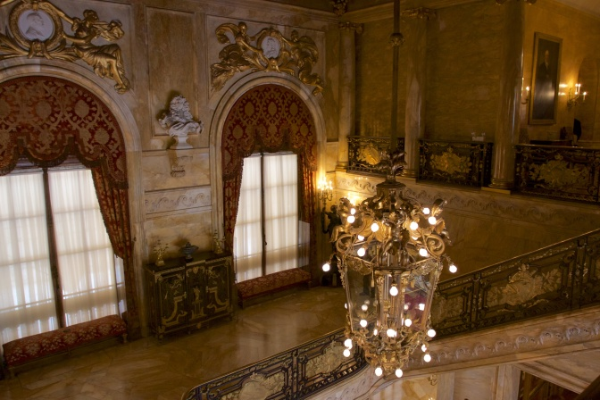 Chandelier hanging in the main staircase.