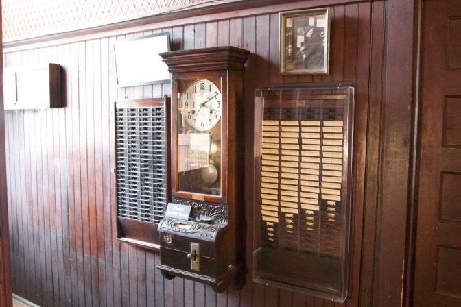 Time card machine for employees of Edison Laboratory.