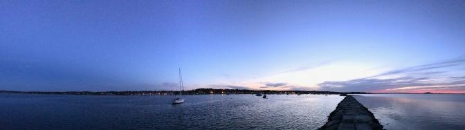 Plymouth Harbor at dusk.