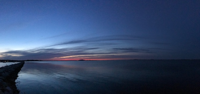 View of Plymouth Harbor at dusk.