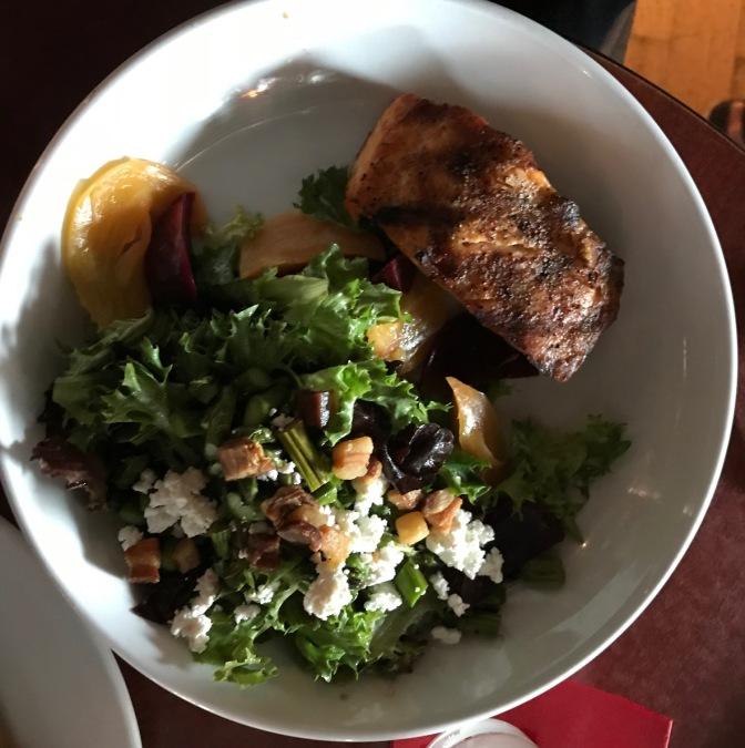 Salad with salmon.