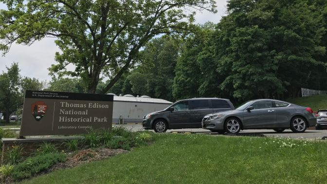 2012 Honda Accord coupe parked near sign for Thomas Edison National Historical Park.