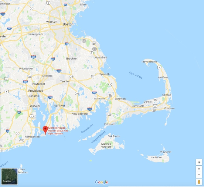 Map of New England, with a red pin in the location for the Marble House in Newport.
