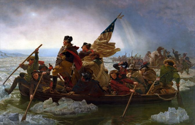 Painting of Washington Crossing the Delaware.