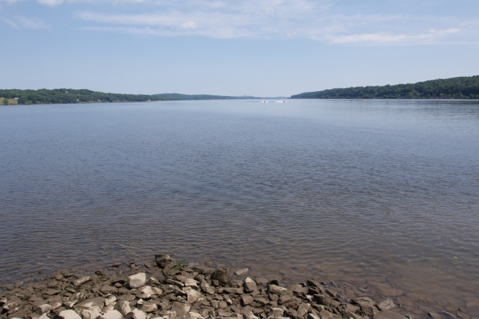 View of the Hudson River, with rocks in the foreground.