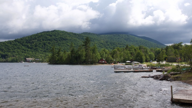View of Blue Mountain Lake in New York.