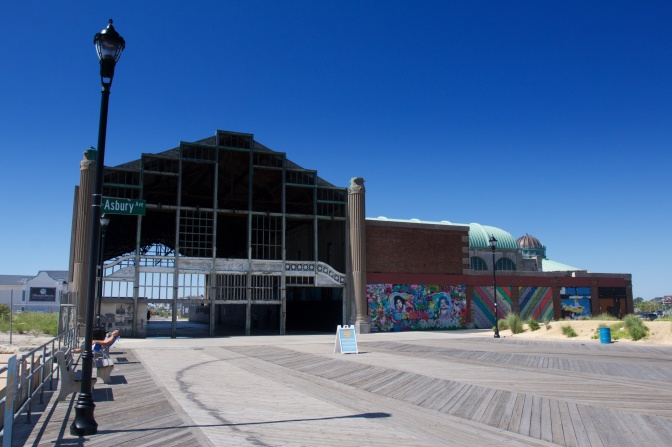 Exterior view of the ruins of the Asbury Park Casino.