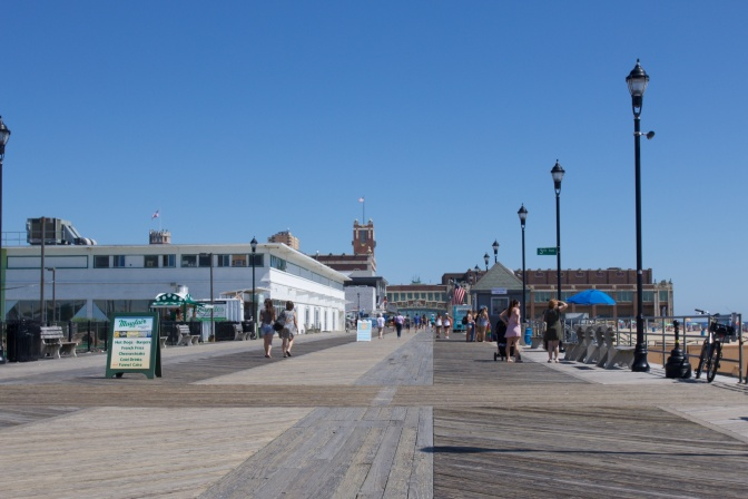 Asbury Park Boardwalk, facing north. The Convention Hall is in the distance.