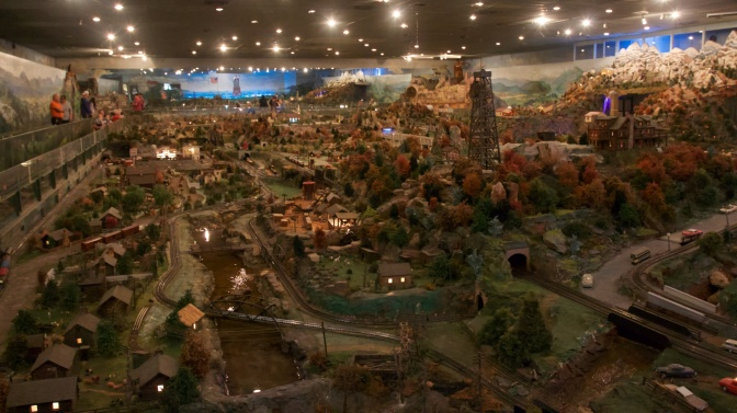 Interior of Roadside America, showing an overview of the village.