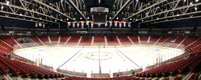 Panorama of the interior of the Herb Brooks Arena