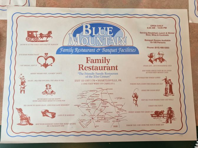 Placemat for Blue Mountain Family Restaurant.