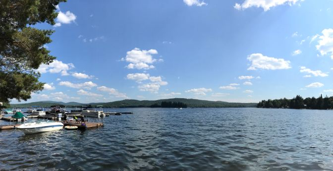 Panorama of Fourth Lake in Eagle Bay, NY.