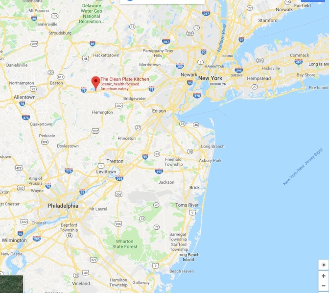 Map of North Jersey with a red pin in the location of The Clean Plate Kitchen in Clinton, NJ