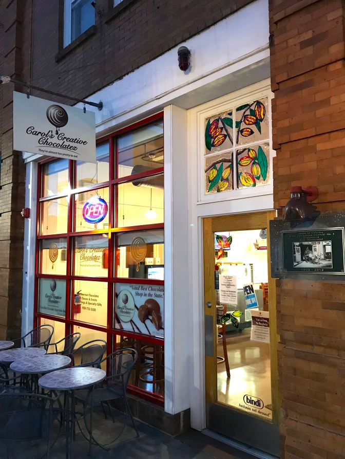 Exterior of Carols' Creative Chocolatez.