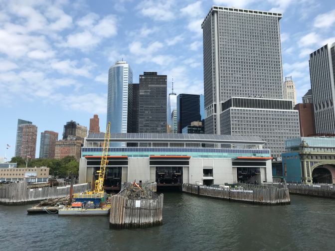 View of the Whitehall Ferry Terminal in Manhattan.